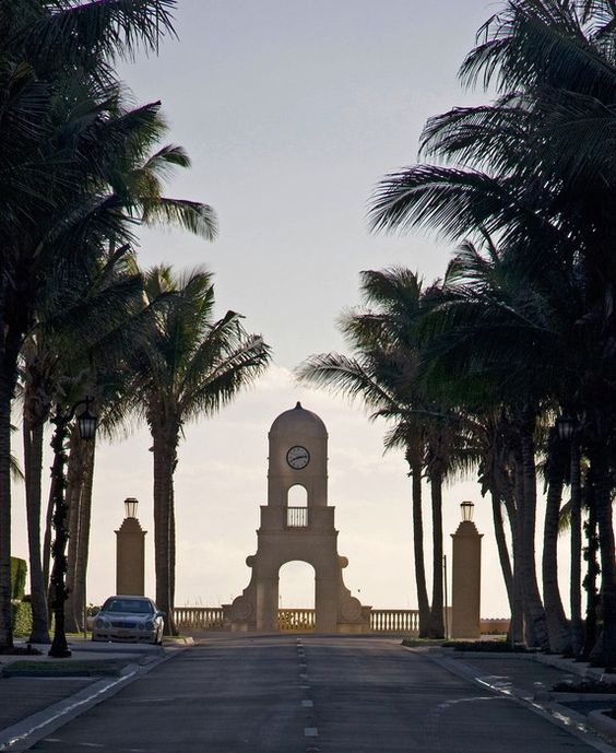 Run along South Ocean Boulevard. Here, the clock tower at the end of Worth Avenue.