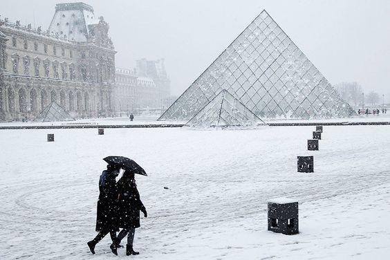 A snowy Louvre.