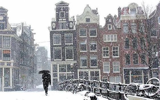 Amsterdam in the snow.