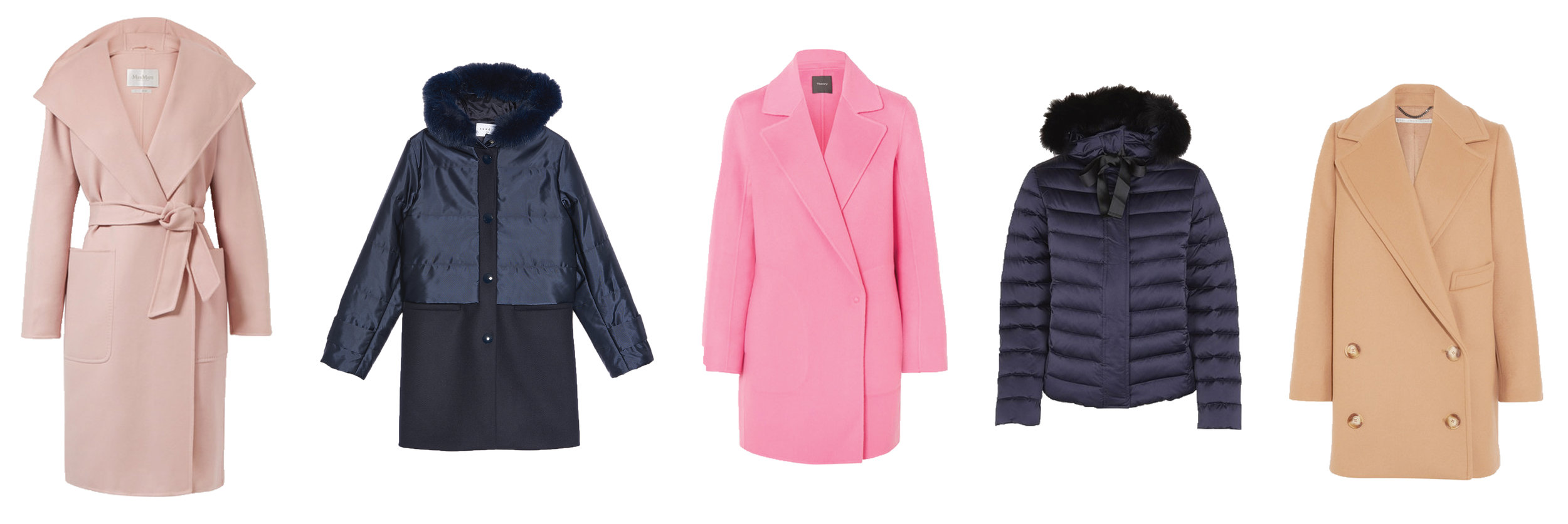 From left, Max Mara Wool and Cashmere  Coat  | Sandro  Coat  with Fur | Theory Wool and Cashmere  Coat  | Sandro Quilted  Jacket  with Fur | Stella McCartney Edith Double-Breasted  Coat