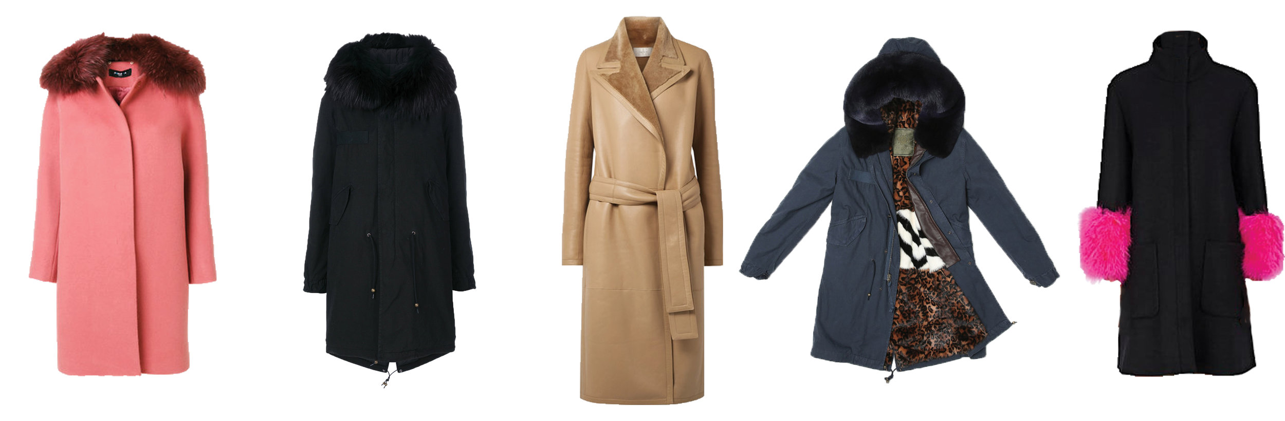 From left, Paule Ka Fur Trim  Coat  | Mr & Mrs Italy Fur  Parka  | The Row Cintry Shearling  Trench  | Mrs & Mrs Italy Fur  Parka  | Lisa Perry Feather-Trimmed Wool  Coat