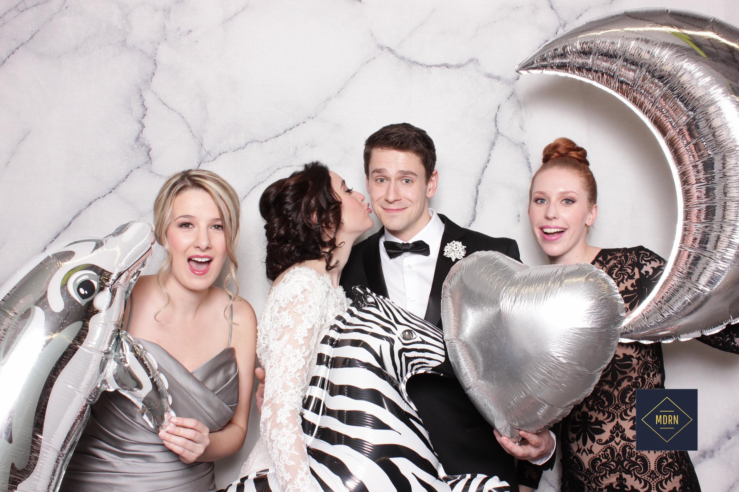 Silver Balloon props for an elegant wedding