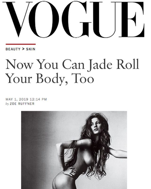 The first of its kind jade body roller from @eskerbeauty is here, and @voguemagazine approves ✨