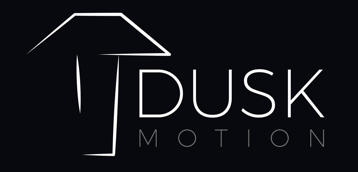 Dusk Motion official logo with name black background