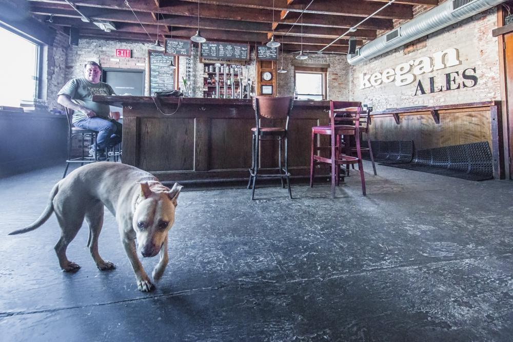 Tommy Keegan and Bear the dog at Keegan Ales in Kingston, New Yo