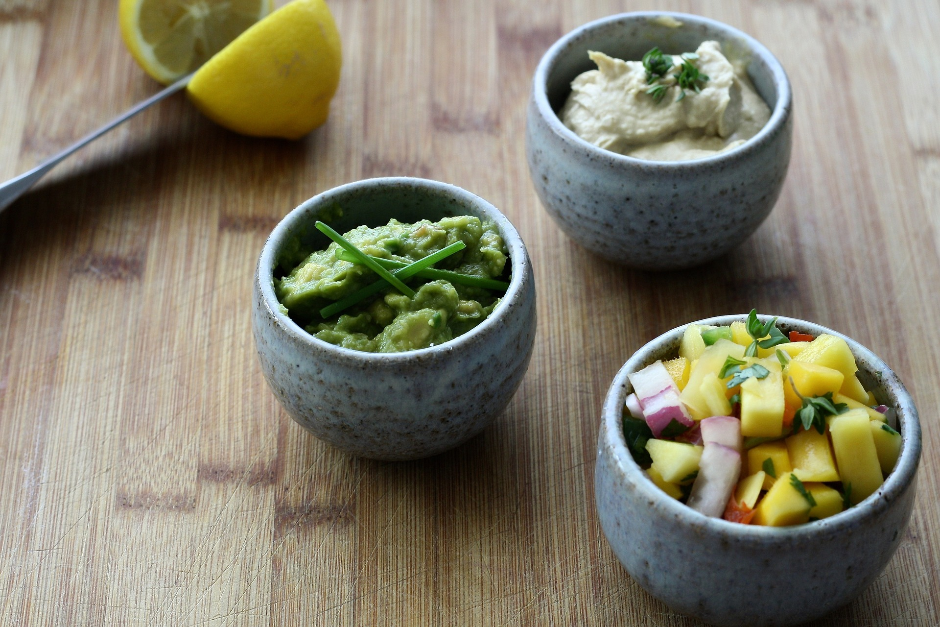 Guacamole, hummus and salsa pair so well together!