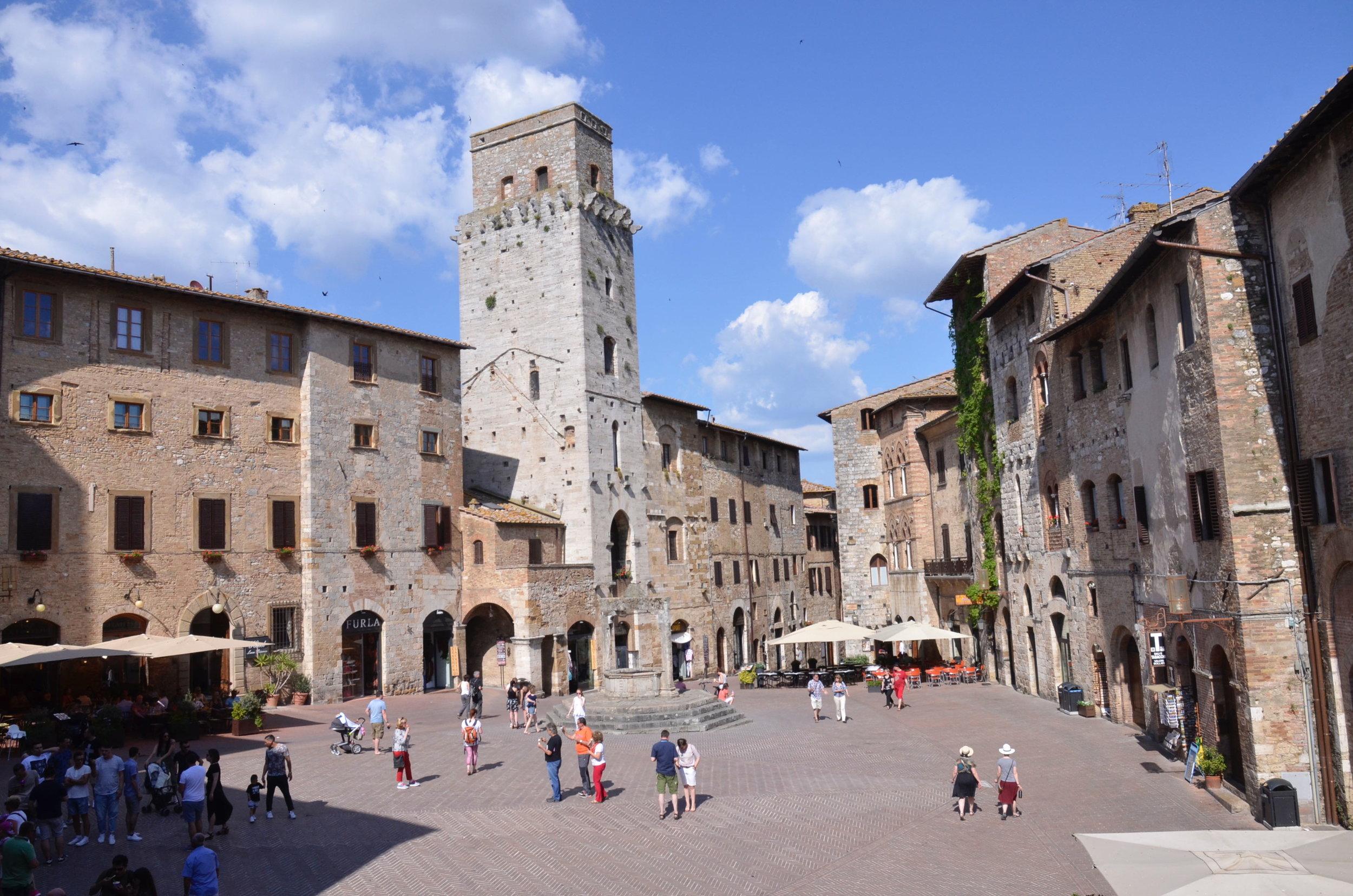 The main square in San Gimignano.