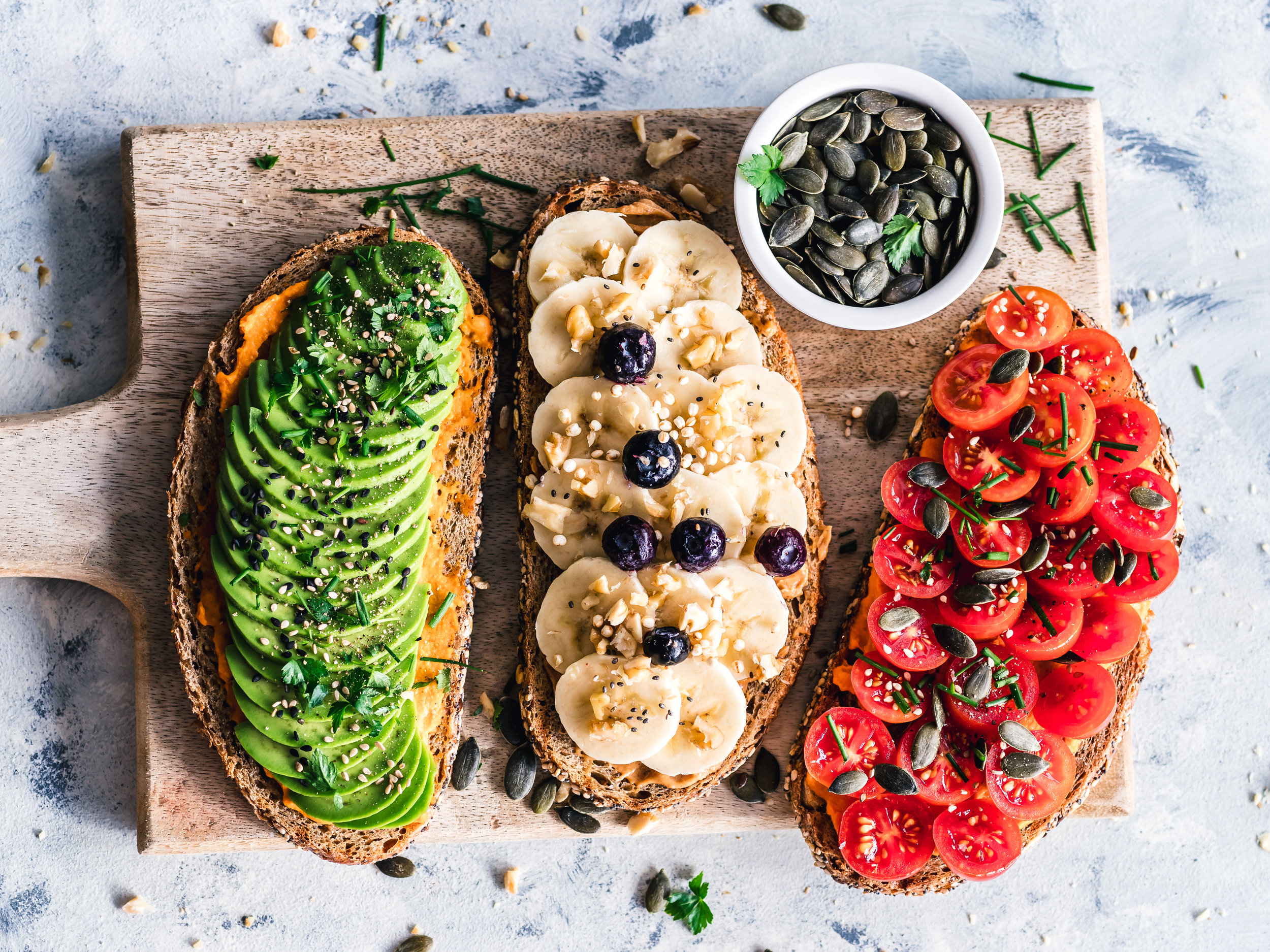 Plant-based diet - 3 kinds of toast