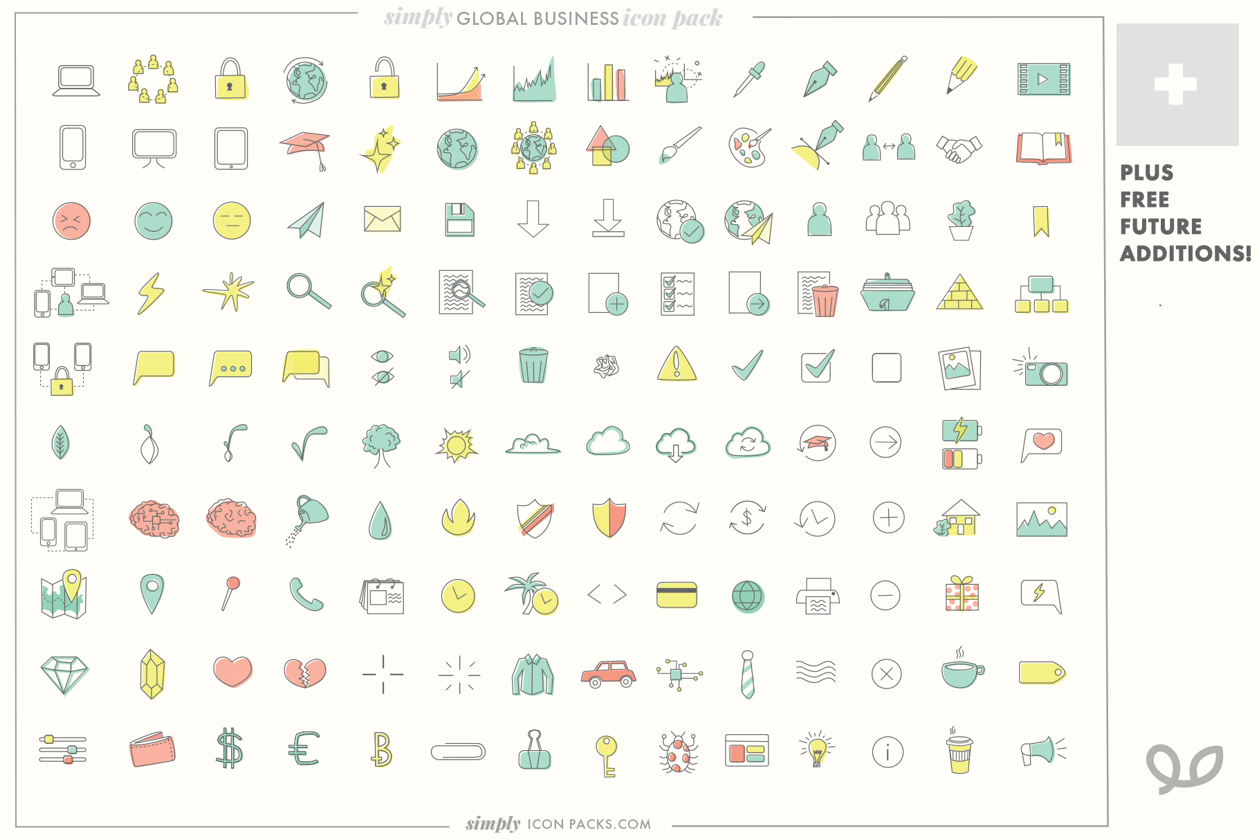 140 Modern Business icons- Simply Icon Packs