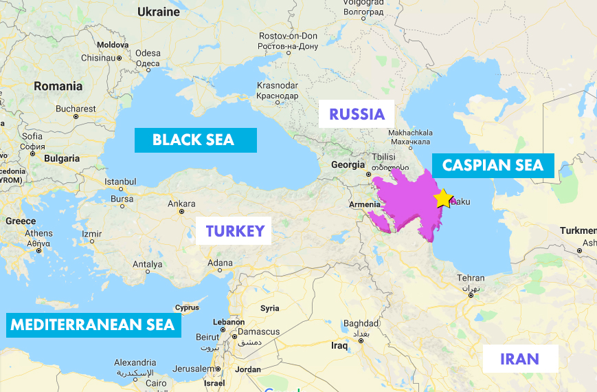 Azerbaijan location on map