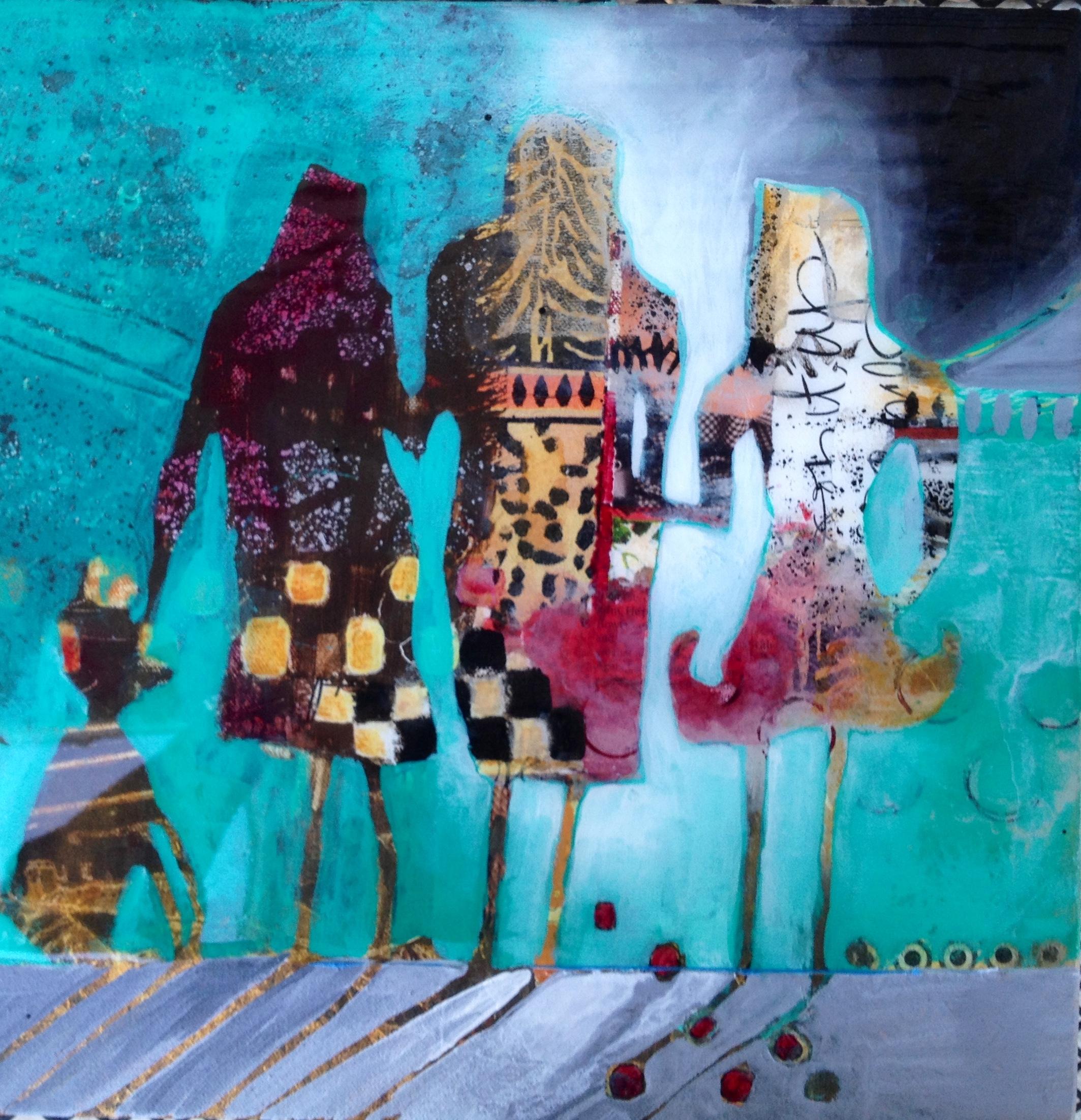 Acrylic and collage on canvas. Epoxy coated. SOLD by Jennifer Stone at Jennifer Stone Artwork