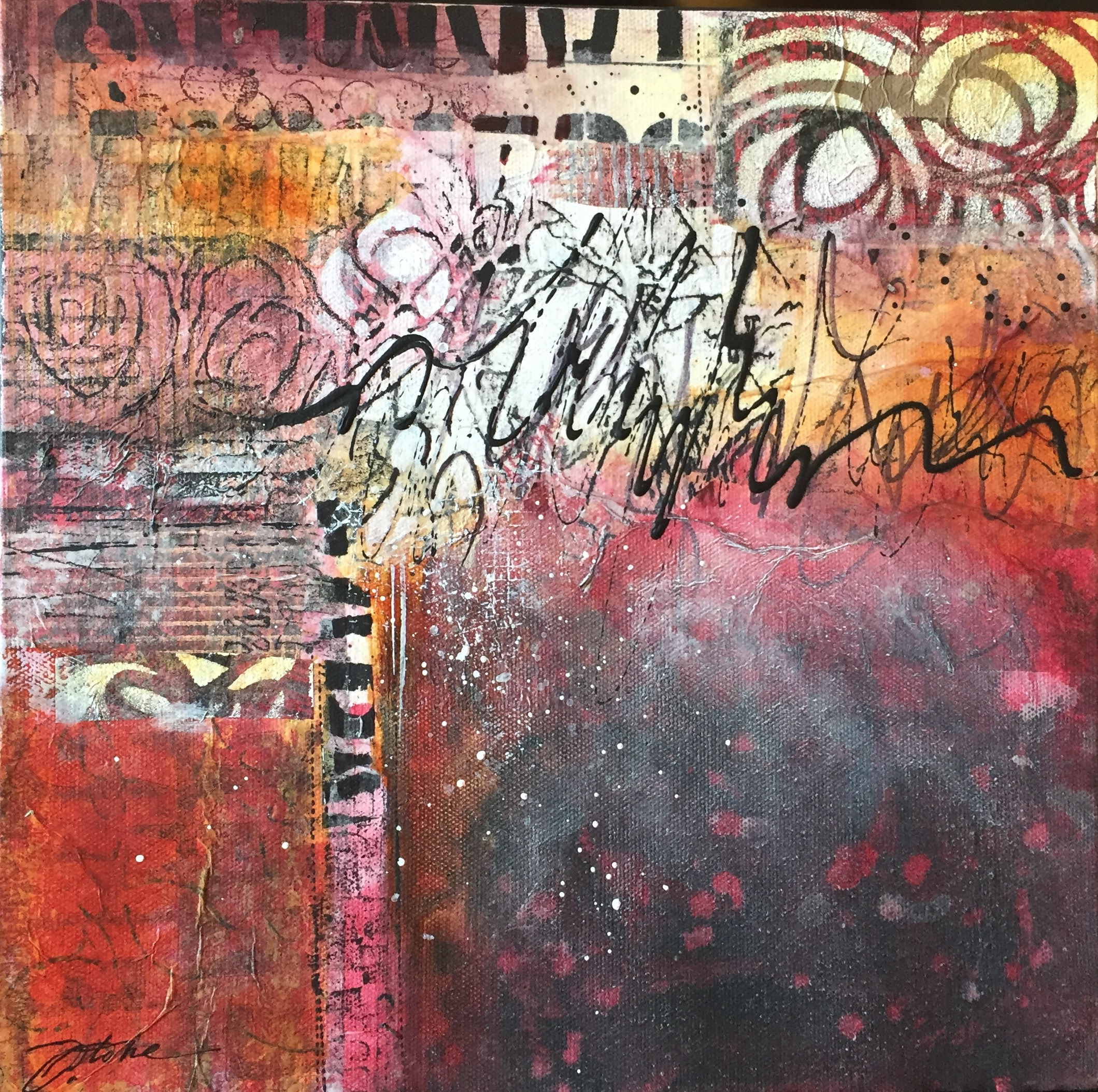 Acrylic and original collage on 12 x 12 canvas. SOLD by Jennifer Stone at Jennifer Stone Artwork
