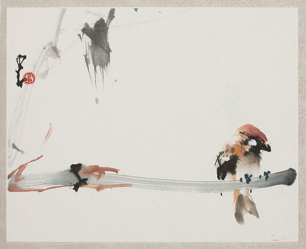 Sparrows and Bamboo (現代 趙少昂繪 棲息無聲 紙本設色) Date: 1992 or earlier Materials: Ink and colors on paper