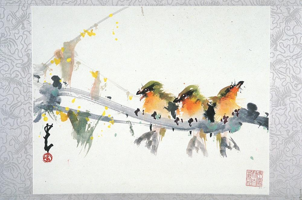 Birds in spring (現代 趙少昂繪 群鳥迎春 紙本設色) Date: approx. 1980-1990 Materials: Ink and colors on paper