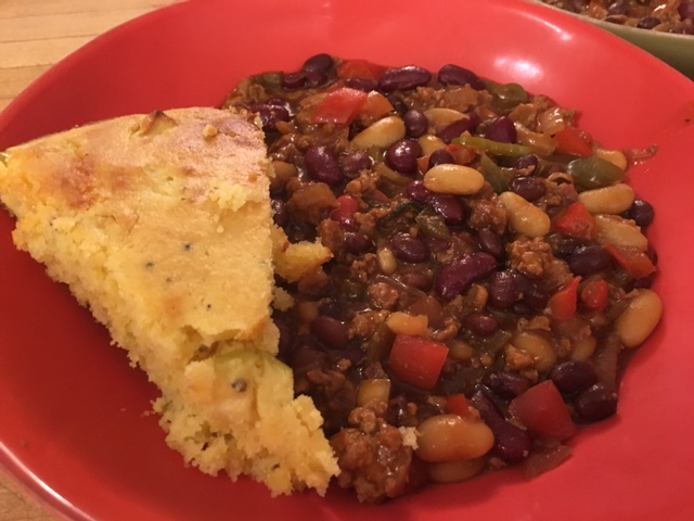 Corn bread and beans