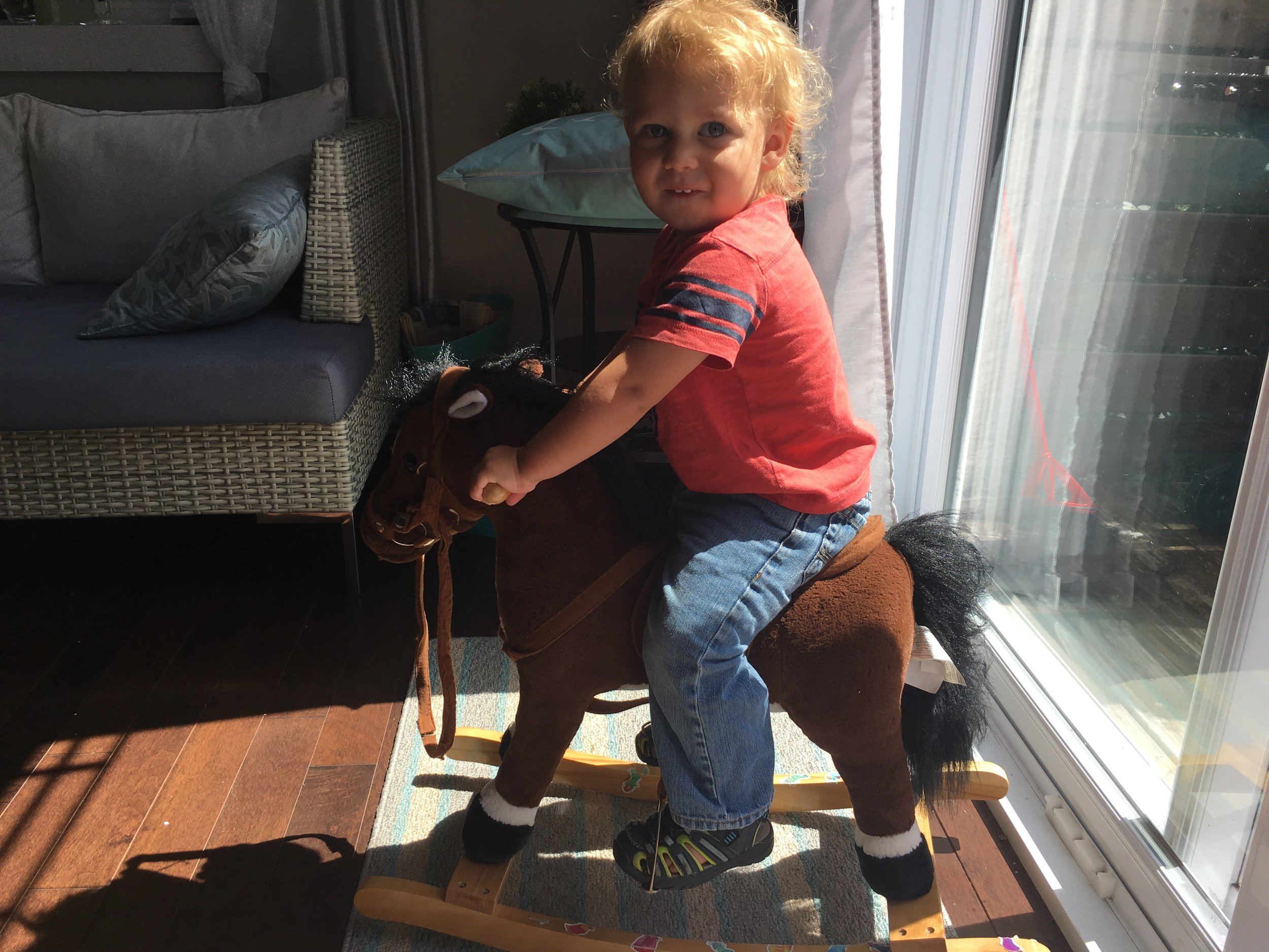 Caleb on his rocking horse, another fun find.