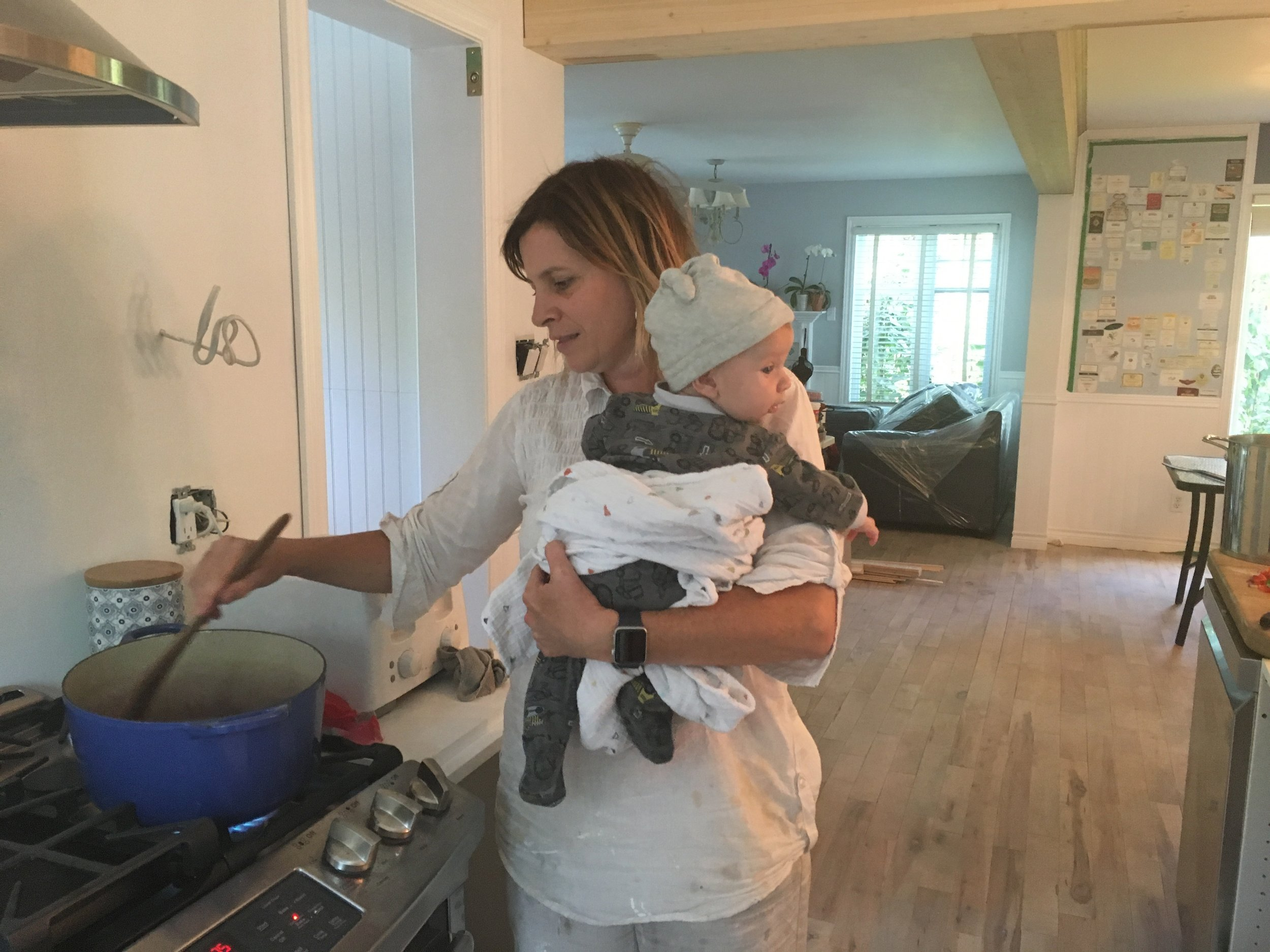 Painting, cooking, soothing 4 month old William