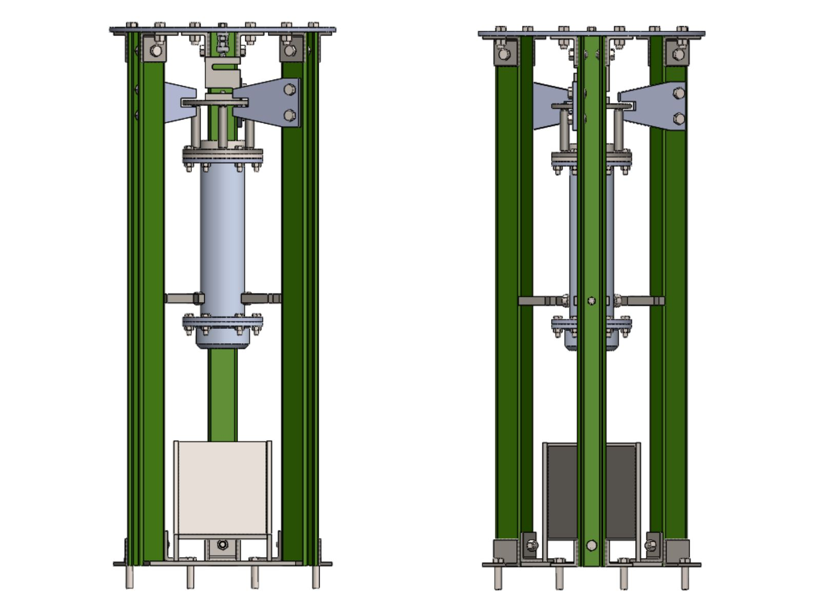The front (left) and back (right) of the Luna test stand