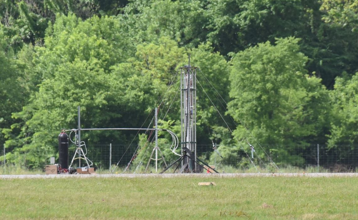 """Titan's  structure fully assembled just before the first """"hot fire"""" test."""