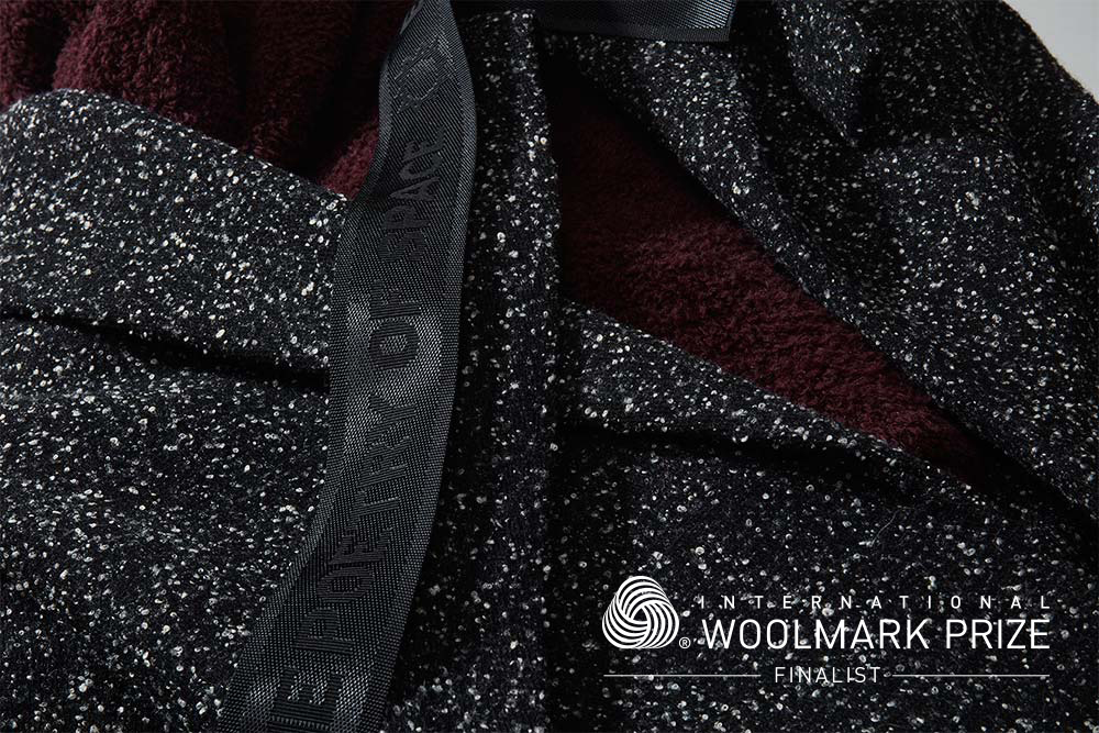 PICTURED: IWP GALAXY STREET SURFER COAT & BURGUNDY SHAG KNIT HOODIE