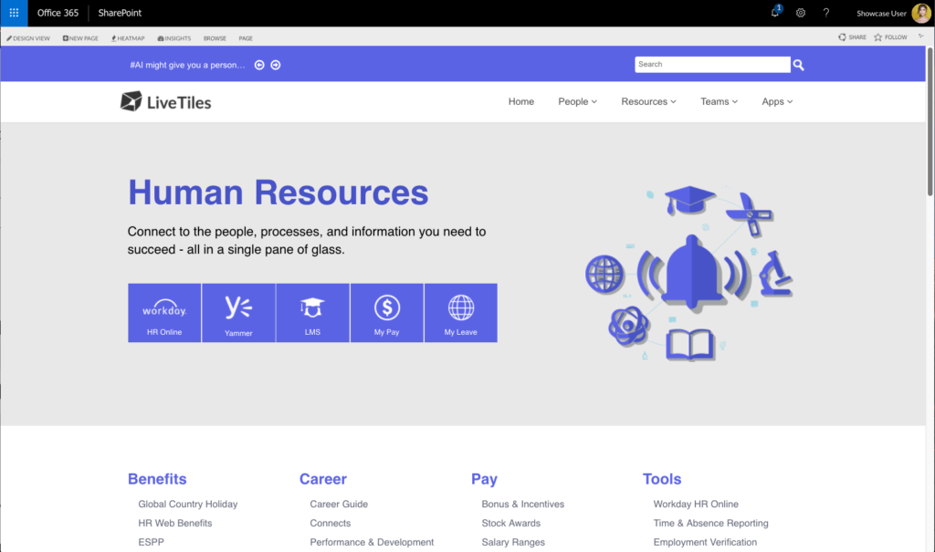 (above) LiveTiles Design-built Human Resources Portal