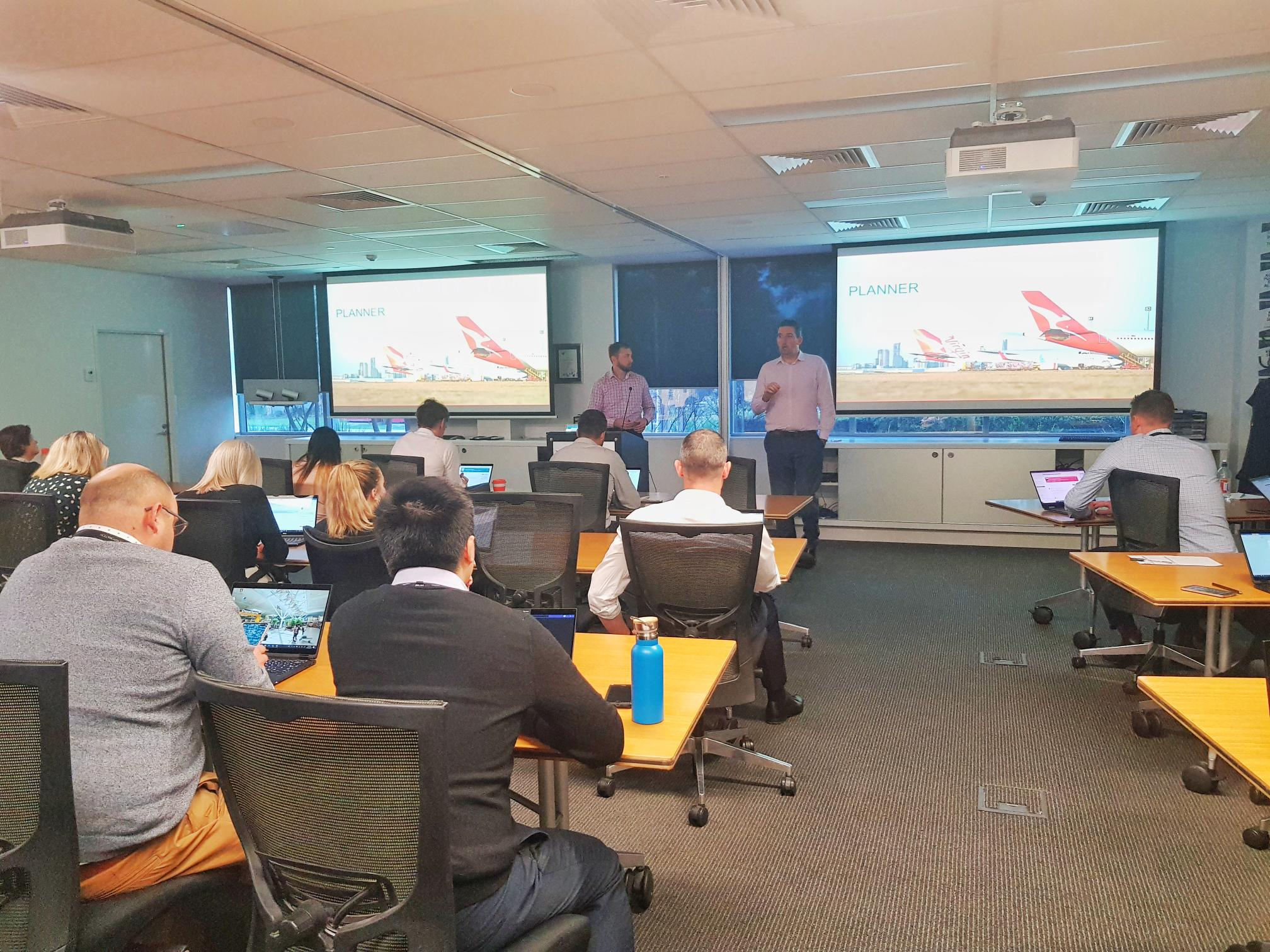 Above: Owen Huth and Ben Creamer delivering a training session to a client