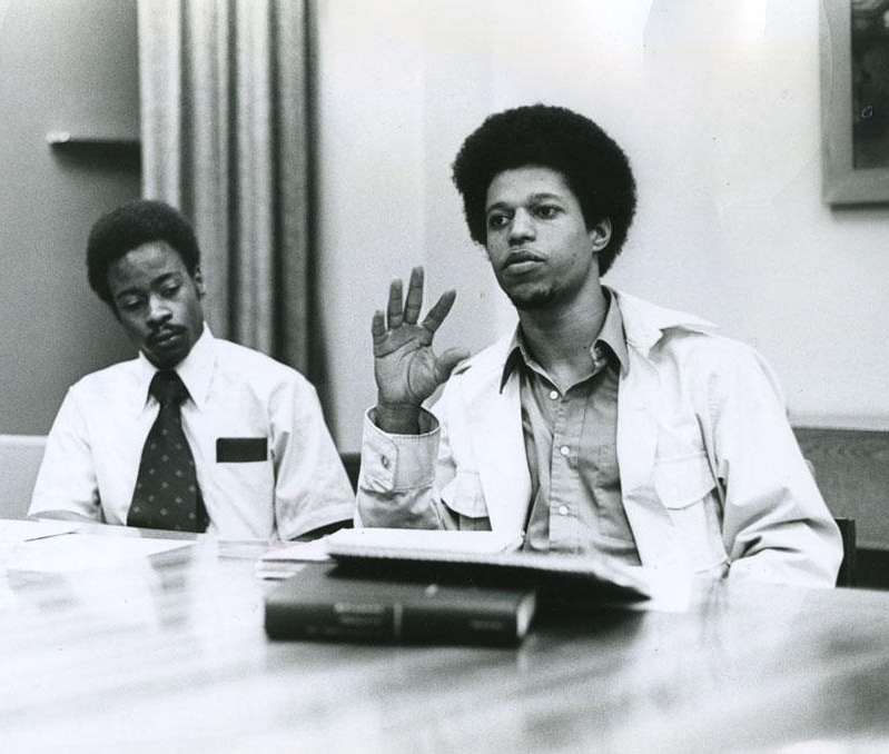 Student activists Ben Moultrie (left) and W. Ahmad Salih at a Task Force on Educational Opportunity meeting, 1971.    Benjamin F. Moultrie    MBA '76 was a financial-aid administrator in the early 1970's. Aero-astro major and    Waayl Ahmad Salih    '72, SM '74 was a student activist who later became a physician.