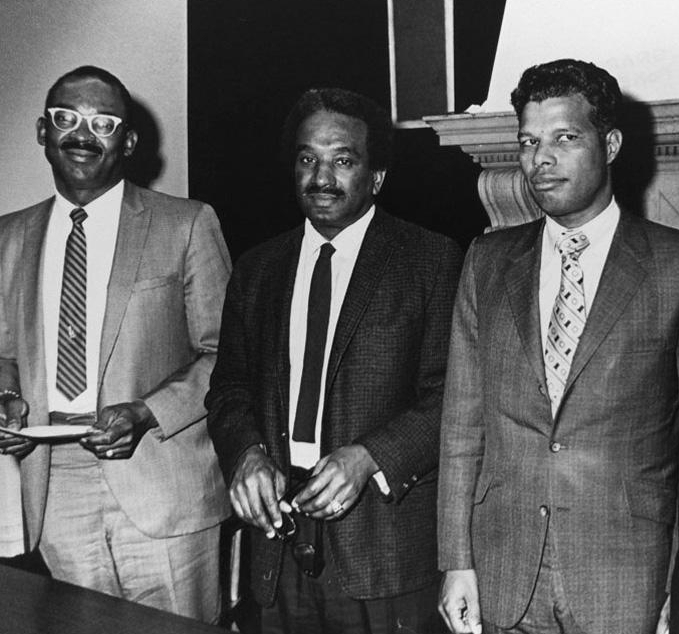Reunion of early black alums at the BSU Lounge in February 1973. Pictured left to right:    Arthur R. Blackwell    '51,    Robert P. Pinckney    '52,    Herbert L. Hardy    '52.
