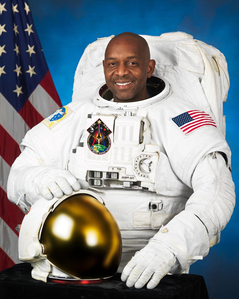 """Robert L. Satcher, Jr., STS-129 Mission Specialist, 19 August 2009.       Robert """"Bobby"""" Lee Satcher, Jr.    '86, PhD '93 is a physician, chemical engineer, and NASA astronaut. At 38 years old he was one of 11 candidates chosen from a field of more than 4,000 applicants as part of the first new class formed since the Columbia Challenger space shuttle accident in which    Ronald E. McNair    PhD '76, lost his life."""