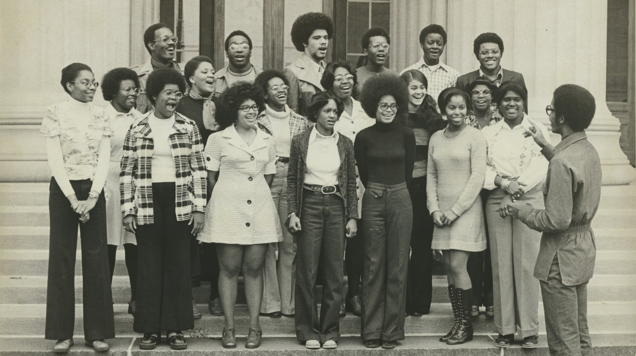 MIT Gospel Choir performs on Killian, November 1974.