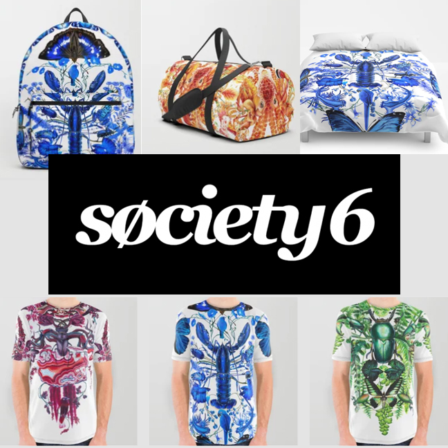 Society6 offers a wide range of items featuring my designs and patterns including specially designs graphic shirts and bags.