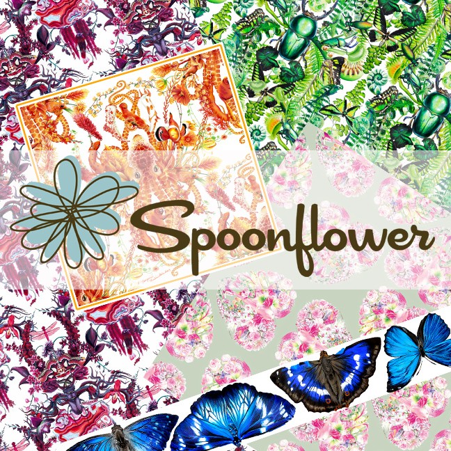 Shop Spoonflower for custom printed fabrics, wallpaper, and wrapping paper with my designs and patterns