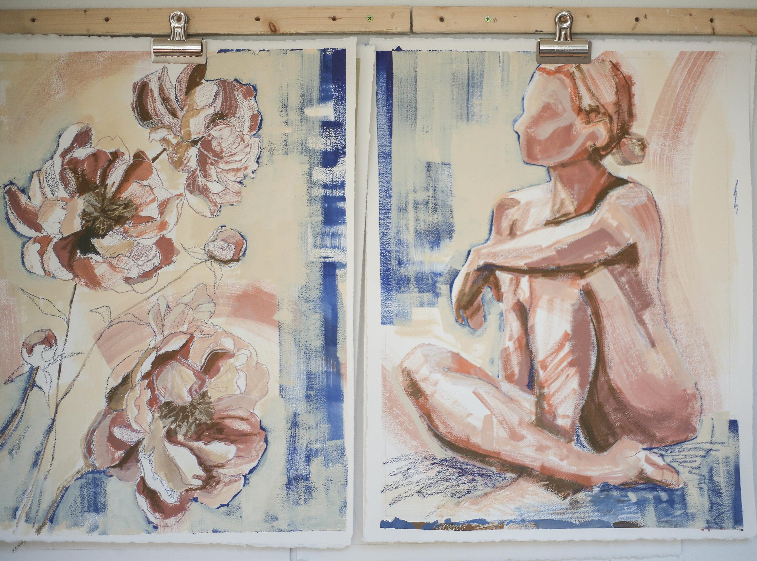 Figures and Flowers, Katherine Corden Art
