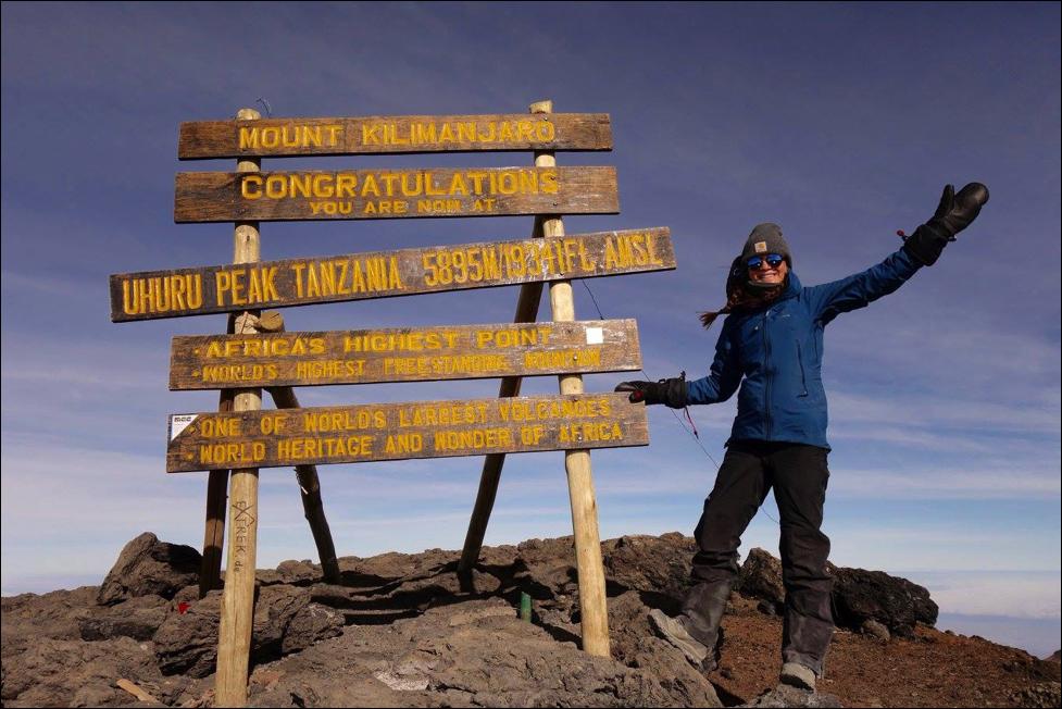 Anna at the summit of Mt. Kilimanjaro!
