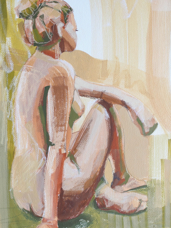 THE FABRIC OF HER BEING 12X16 Katherine Corden Art  #abstractfigure #figurepainting #figurestudy
