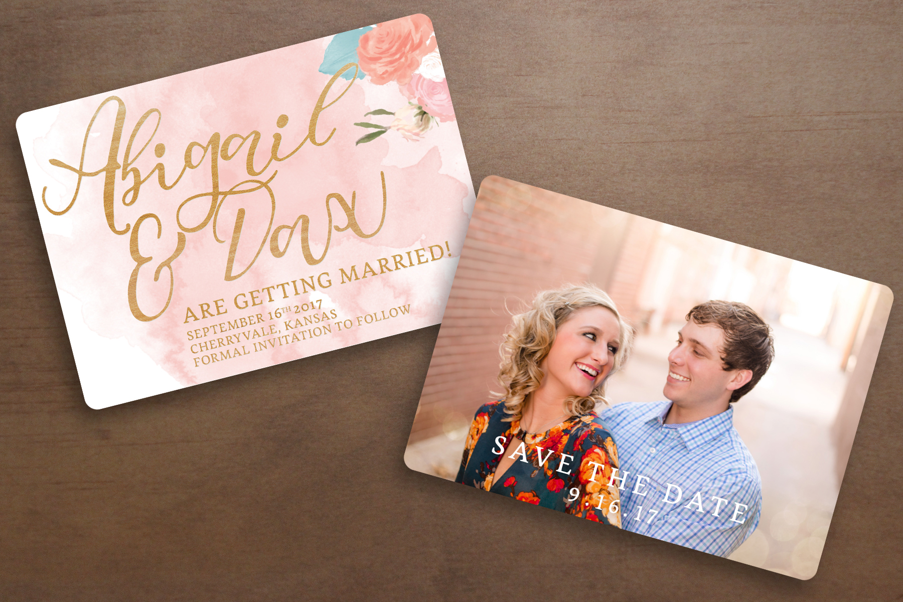 This is a mockup of Abigail and Dax's custom Save-the-Date I designed for them!