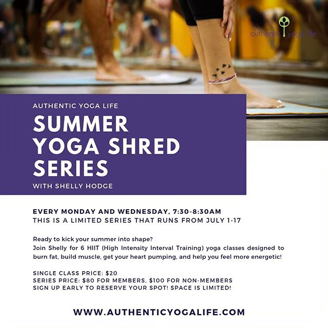 We're so exciting to announce Shelly Hodge is doing a yoga shred series! These classes are fun, empowering, and accessible for all levels! #authenticyogalife #yoga #yogashred #yogashredchallenge #hiityoga #dentontexas #dentontx