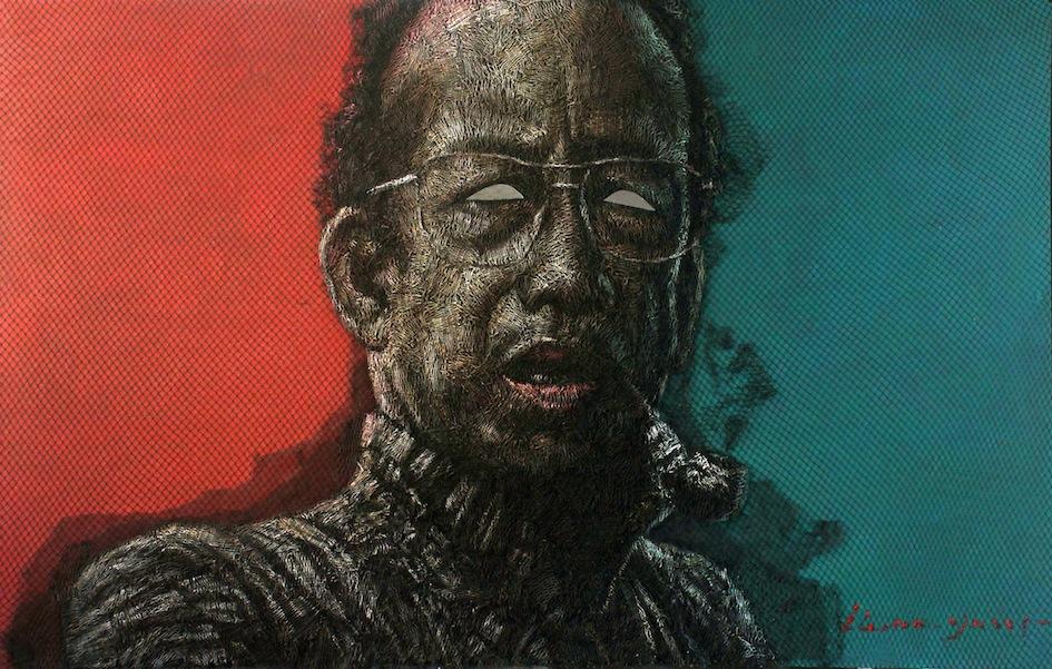 Artist: Iwan Yusuf, Indonesia    Title: Jiwa Ketok Medium: troll net, plastic paint and mirror on canvas   Size: 220 cm x 140 cm Year:2015     SOLD