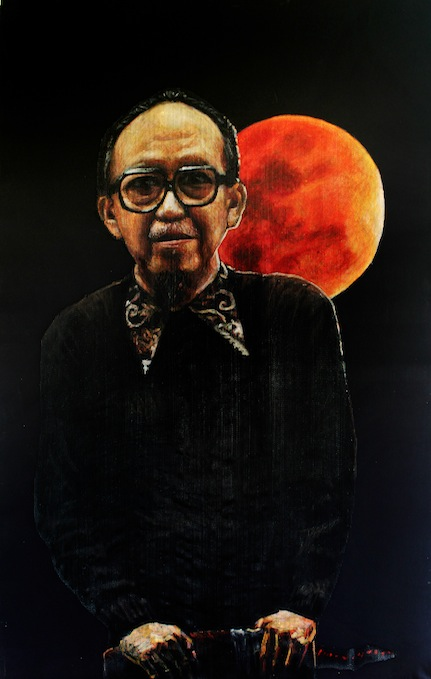 Artist: Iwan Yusuf, Indonesia    Title: Bulan Berdarah / Bloody Moon Medium: waring net and plastic paint on canvas   Size: 220 cm x 140 cm Year:2015