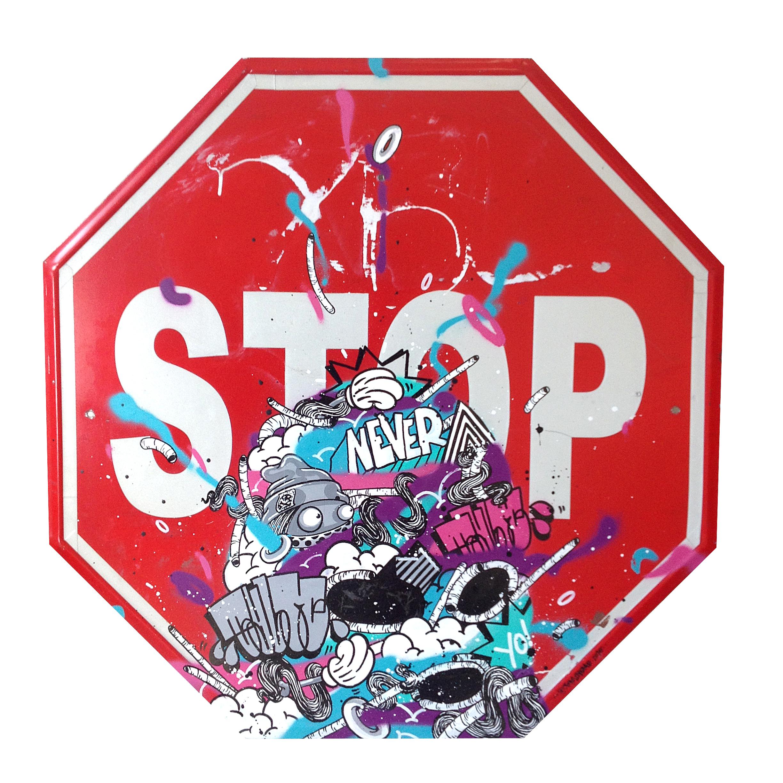 %22Never stop%22 : mixmedia on streetsign : 2015.jpg