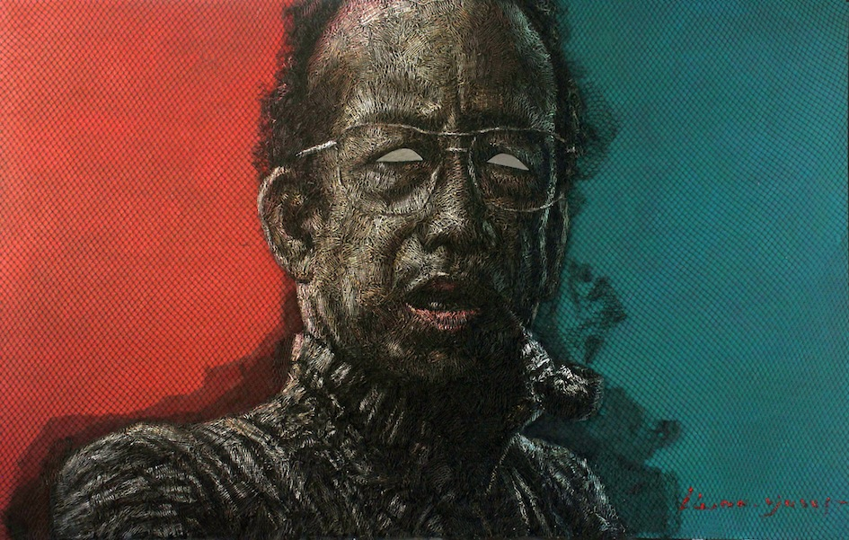 Artist: Iwan Yusuf, Indonesia    Title: Jiwa Ketok Medium: troll net, plastic paint and mirror on canvas   Size: 220 cm x 140 cm Year: 2015    SOLD