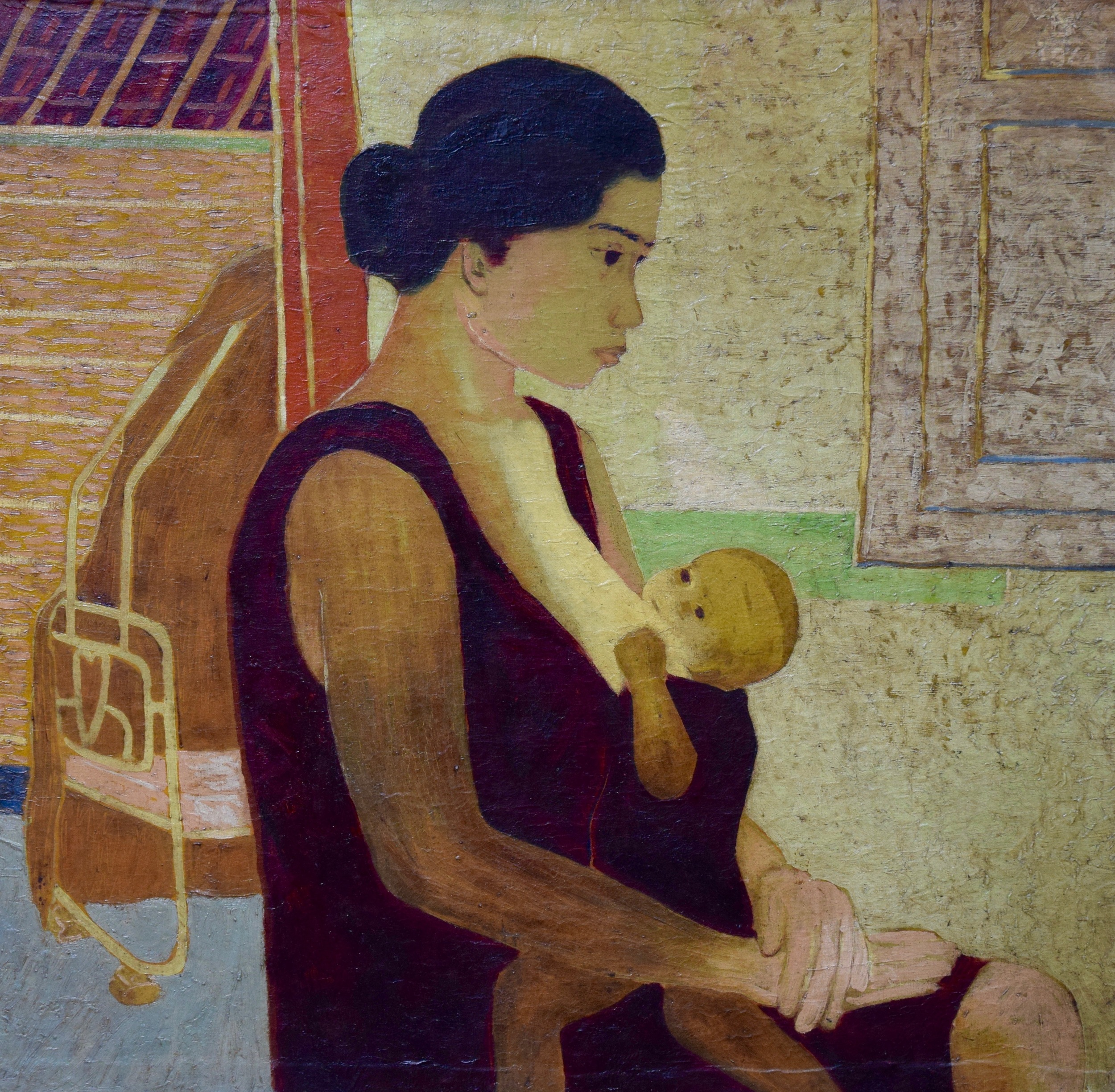 Artist: Nashar, Indonesia    Title: Kasih Ibu Medium: oil on canvas   Dimension: 70 cm x 72 cm Year: 1964