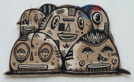 Artist: Hendra 'HeHe' Harsono, Indonesia    Title: Curious Ball Medium: Ink on Cardboard   Dimension: various sizes between 20 cm x 20 cm Year: 2011    SOLD