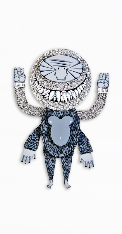 Artist: Darbotz, Indonesia    Title: Monstamack Medium: Acrylic on Netherland Teak   Dimension:100 cm Year:2010    SOLD