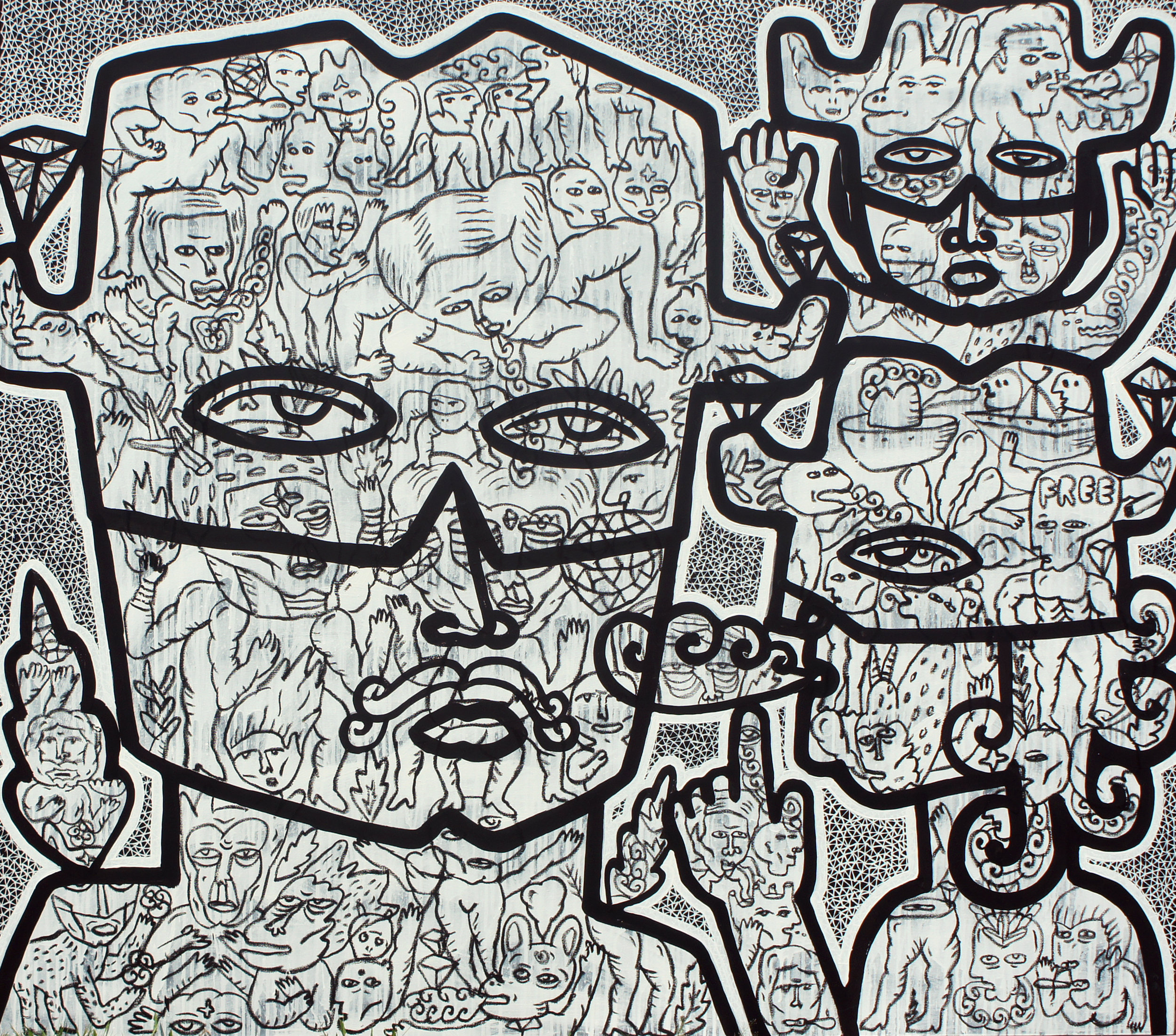 Artist: Soni Irawan, Indonesia    Title: Zorro Family Medium: acrylic, paint marker and oil bar on canvas   Dimension: 140 cm x 160 cm Year: 2016