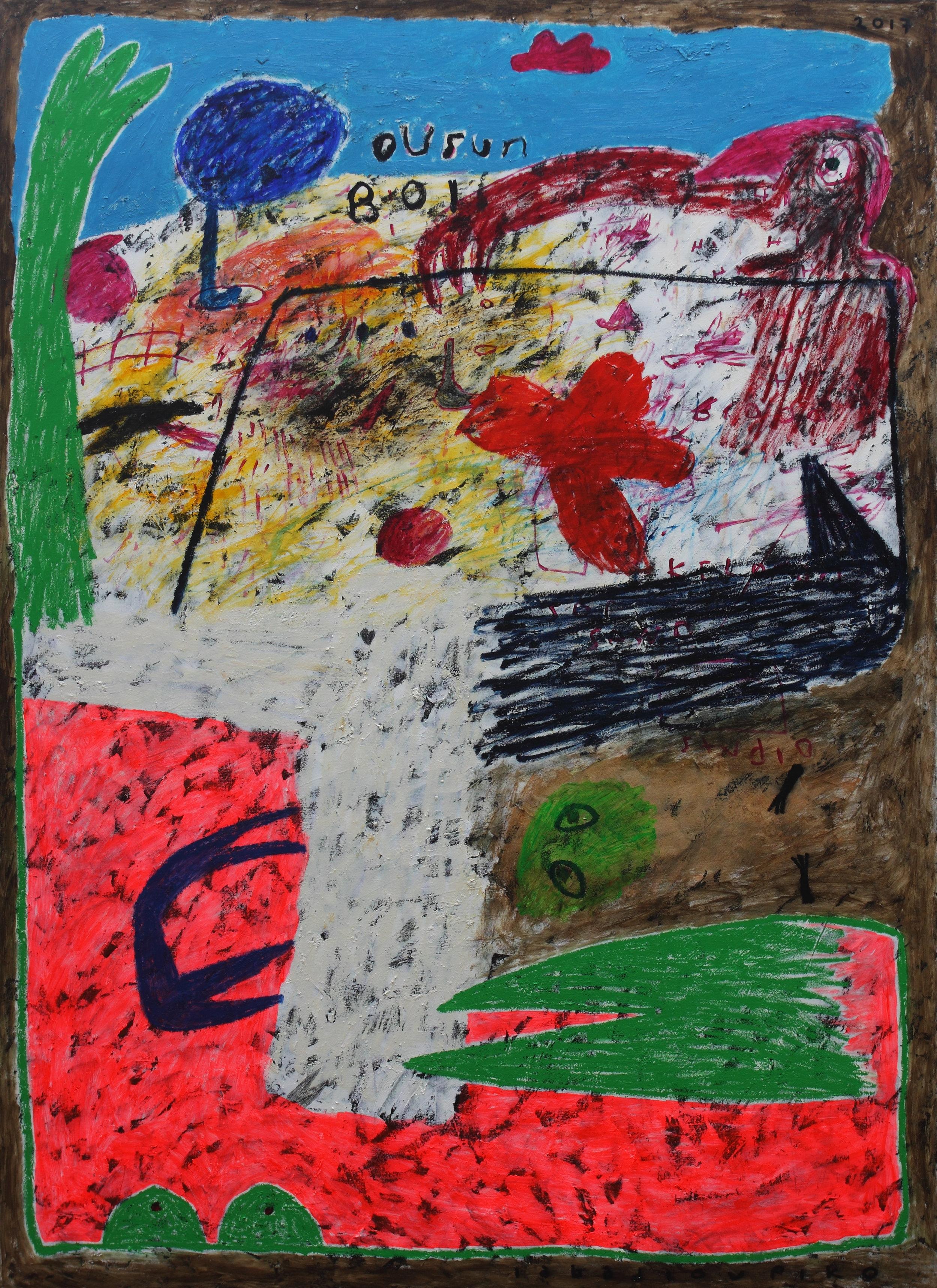 Iabadiou Piko, b.1984 (INDONESIA)  Title: Batas Tanpa Tepi  Medium: Acrylic, Bitumen, Oil Bar, Oil on Canvas  Dimension: 200 x 145 cm  Year: 2017
