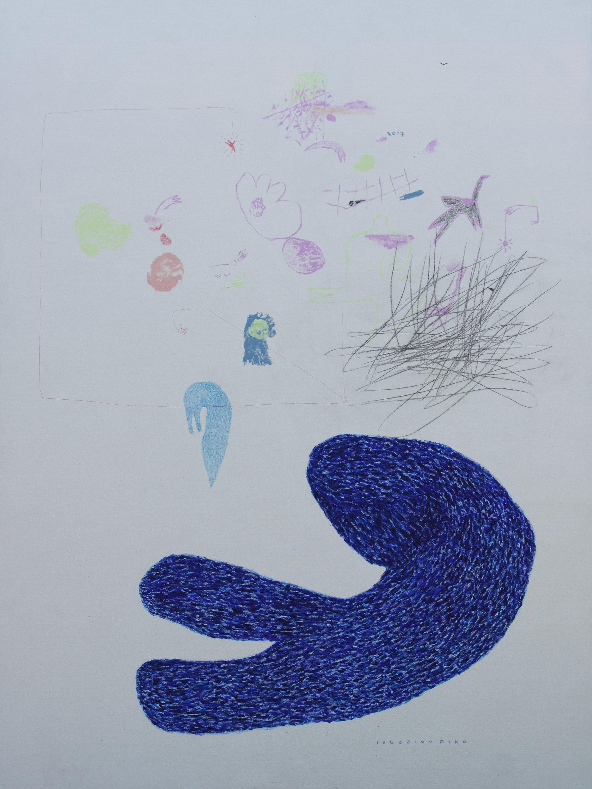 Iabadiou Piko, b.1984 (INDONESIA)  Title: Persepsi Di Atas Putih  Medium: Acrylic, Archival Ink, Pencil on Linen Blend  Dimension: 200 x 150 cm  Year: 2017