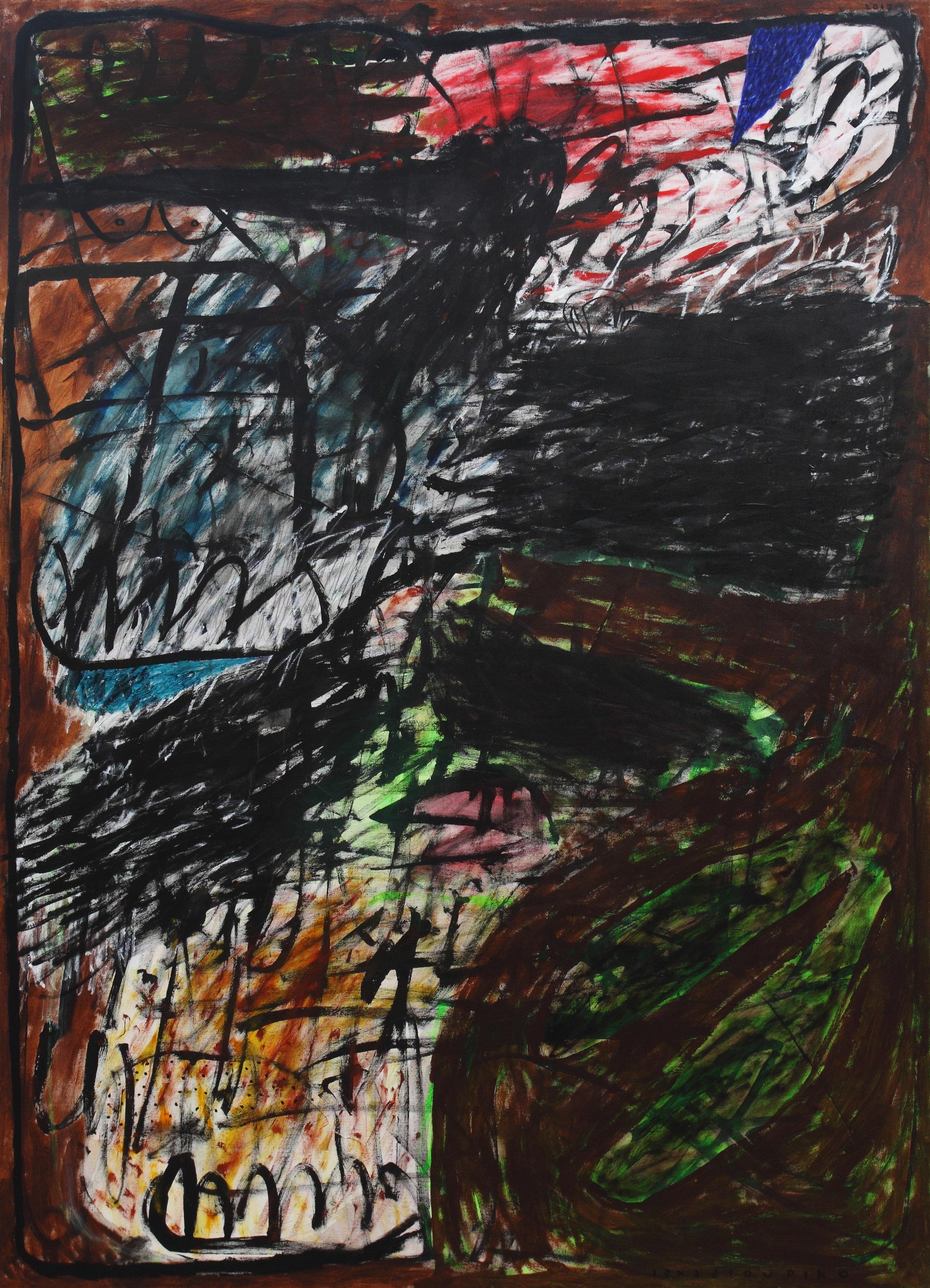 Iabadiou Piko, b.1984 (INDONESIA)  Title: Mengganggu Malam  Medium: Acrylic, Pencil on Canvas  Dimension: 200 x 145 cm  Year: 2017