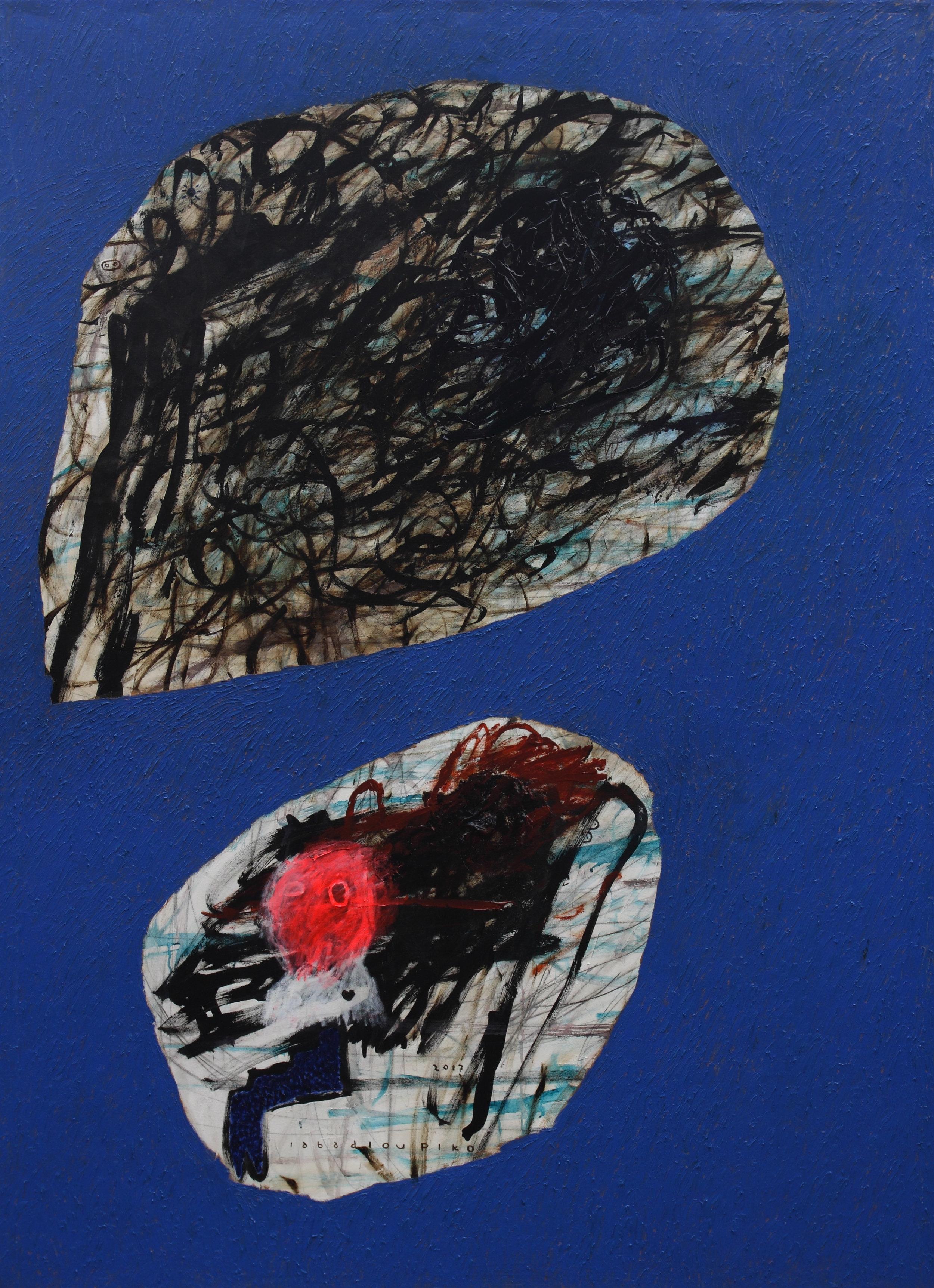 Iabadiou Piko, b.1984 (INDONESIA)  Title: Yang Nyata Di Belakangku, Di Depanku Masih Bayang-Bayang, Berisik Di Sekeliling Biru  Medium: Acrylic, Bitumen, Oil, Charcoal Pencil on Canvas  Dimension: 200 x 145 cm  Year: 2017