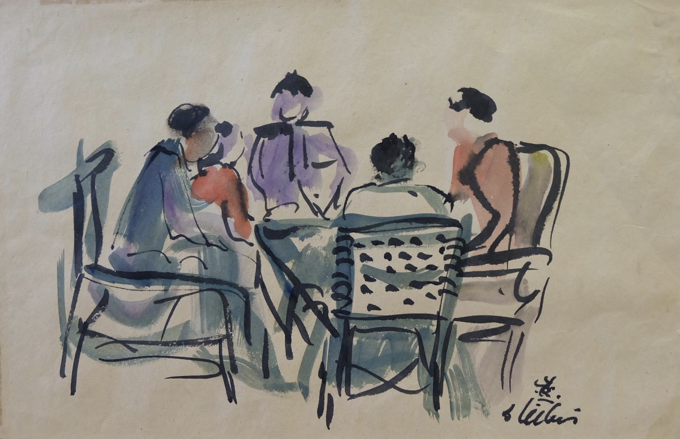 Artist: Batara Lubis, b.1927 (Indonesia)    Title: Meeting Medium: water color on paper   Dimension: 20 cm x 30 cm Year: